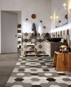 Hexagonal Wall Tiles design schemes unique personality