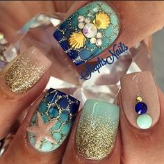 Ocean Beach Inspired Green y Gold Nail Art Design - Uñas Naturales Pretty Nail Art, Cute Nail Art, Cute Nails, My Nails, Shellac Nails, Nail Polishes, Acrylic Nails, Fabulous Nails, Gorgeous Nails