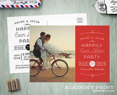 Printable Post Wedding Photo Postcard Invitation - Happily Ever After Save the Date w/ Postcard Back - Custom Wedding Reception Invite
