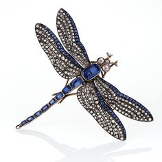 Antique Sapphire Diamond Silver Gold Dragonfly Brooch