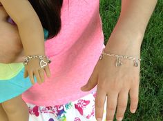 """My doll and me matching heart charm silver plated bracelets for girls and their American Girl doll and/or other 18"""" dolls by BFFandMEJewelry on Etsy"""