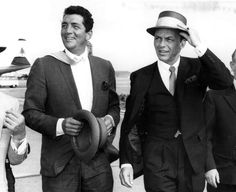 Dean Martin and Frank Sinatra on their way to the set of The Road to Hong Kong