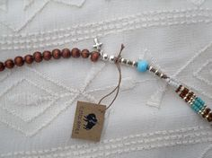 Turquoise Silver White and Brown Layering by ShopElectricBuffalo