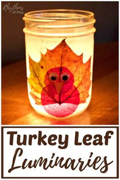 Turkey Leaf Lanterns - These rustic DIY leaf luminaries are made with mason jars and real fall leaves. The tutorial makes this autumn nature craft easy, for both kids and adults. A beautiful Thanksgiving decoration and centerpiece for any holiday table! Thanksgiving Crafts For Kids, Thanksgiving Activities, Halloween Crafts For Kids, Thanksgiving Decorations, Halloween Games, Thanksgiving Turkey, Mason Jar Thanksgiving Centerpieces, Jar Centerpieces, Wedding Centerpieces