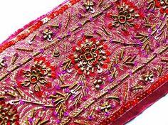 Wide, Hand-Beaded, Brocade Sari Trim. Pink & Red Sari Border.
