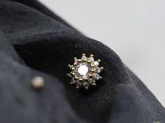 NEW Sparkly CZ Sunflower Cartilage Earring Conch stud | Etsy Conch Stud, Tragus Stud, Cartilage Hoop, Helix Earrings, Cartilage Earrings, Gold Earrings, Flat Back Earrings, Labret, Ear Loop