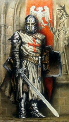 """Really? You want to hear my confession?"" Knight In Shining Armor, Knight Armor, Medieval Knight, Medieval Art, Medieval Fantasy, Knights Templar, Chivalry, Medieval Times, Fantasy Warrior"