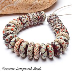 Igneous - Geo Glass Beads (Romana) I love the shape of these beads, and the way only a few colours are used to create the suite. Polymer Clay Beads, Lampwork Beads, Beaded Jewelry, Beaded Necklace, Jewellery, Handmade Beads, Beads And Wire, How To Make Beads, Glass Beads
