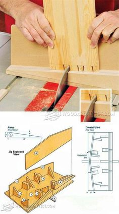 Table Saw Dovetail Sled - Joinery Tips, Jigs and Techniques | WoodArchivist.com Best Woodworking Tools, Woodworking Ideas Table, Woodworking Essentials, Woodworking Joints, Woodworking Workshop, Woodworking Techniques, Woodworking Projects Plans, Joinery Tools, Wood Joinery