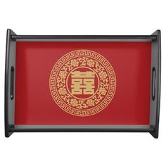 """This """"Double Happiness Chinese Wedding Tea Ceremony Tray"""" features a red background and the Chinese character which stands for """"double happiness"""". Chinese Wedding Tea Ceremony, Serving Tray Wood, Natural Wood Finish, Chinese Tea, Wedding Gifts, Entertaining, Red Background, Color Red, Palace Garden"""
