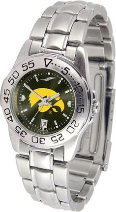 NCAA Iowa Hawkeyes Ladies' Sport Steel AnoChrome Watch