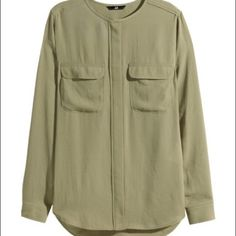 🌿PM Editor Share🌿 Army Green Airy Blouse Never worn. Silky blouse from H&M. Pockets on the front. H&M Tops Blouses