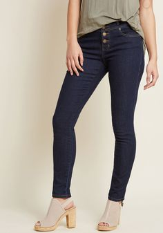 Karaoke Seamstress Skinny Jeans in Dark Wash - 30 in. - Put in a peppy mood by the comfort and casual panache of these dark wash jeans, you happily hum along with your sewing machine's familiar purr! Confidently clad in the high-waisted, bronze-buttoned silhouette of this ModCloth namesake label pair - updated to feature a higher quality denim - you solo over your backing beat with fiercely stylish enthusiasm.