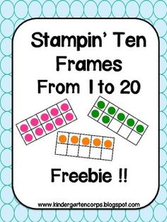 Math Center: Freebie - Counting Practice : Stamping Ten Frames to Students are presented with blank ten frames and a number from one to twenty. Students use daubers to fill in the ten frames according to the number on the page Math Worksheets, Math Resources, Math Activities, Math Games, Ten Frame Activities, Therapy Activities, Math Classroom, Kindergarten Math, Teaching Math