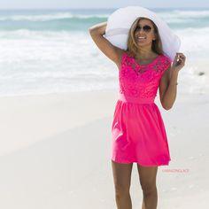 Pretty As A Picture Bubble Gum Lace Dress