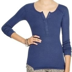 Free people top new navy Rayon/spandex Machin wash Imported Scoop neck,long sleeves,concealed snap henley placket Allover ribbing, exposed seam detail,notched sides,slim fit Free People Tops Tees - Long Sleeve