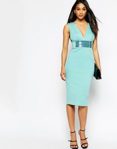 ASOS Deep Plunge With Embellished Waist Pencil Dress