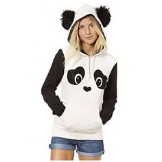 Women's Cute Panda Print White and Black Fleece Hoodie Tops (105 BRL) ❤ liked on Polyvore featuring tops, hoodies, patterned hoody, fleece tops, panda hoodie, long tops and print hoodie