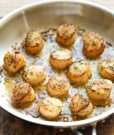 DAMN DELICIOUS~ It's her site that I'm trying to Pin~ It's excellent~ delicious~ Lemon Butter Scallops~ 5 ingredients & 10 minutes for the most amazing, buttery scallops ever. {It's not a Gluten Free site, but there's plenty of Gluten Free recipes here. Fish Recipes, Seafood Recipes, Dinner Recipes, Cooking Recipes, Healthy Recipes, Clam Recipes, Cooking Food, Easy Cooking, Gratin