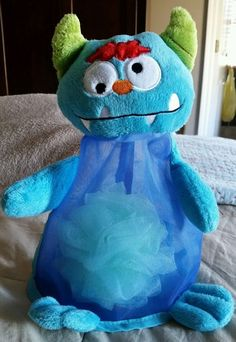 Avon Bath Storage Blue Monster Plush Bag and Mesh Sponge NWOT Toy Holder Bag