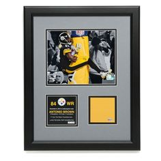 Pittsburgh Steelers #84 Antonio Brown Limited Edition Framed Goalpost Wrap Cut Piece