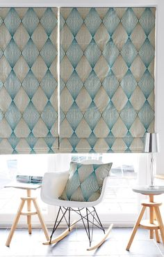 Our Diamond Teal Roman blind is available with a blackout lining, making it to the perfect partner to a relaxing bedroom. The stylish geometric design loves Scandi schemes, while it will also make a n Grey Blinds, Modern Blinds, Shades Blinds, Indoor Blinds, Patio Blinds, Bamboo Blinds, Privacy Blinds, Fabric Blinds, Modern
