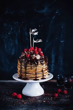 Linda Lomelinos crêpe cake with chocolate ganache, cointreau, whipped cream and raspberries