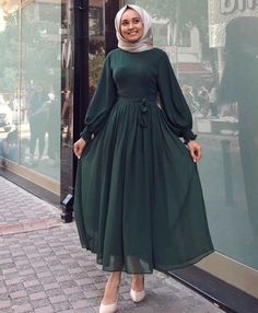 Our chiffon dress is in stock in the size range … … Modest Fashion Hijab, Modern Hijab Fashion, Street Hijab Fashion, Abaya Fashion, Muslim Fashion, Fashion Dresses, Dress Outfits, Hijab Evening Dress, Hijab Dress Party