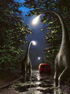 Dinosaurs which are lamp posts . Dark tones in the background and texture on trees