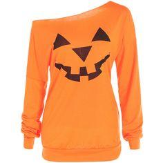One Shoulder Pumpkin Print Halloween Sweatshirt ($15) ❤ liked on Polyvore featuring tops, hoodies, sweatshirts, sweaters, shirts, print sweatshirt, print top, orange sweatshirt, patterned tops and orange top