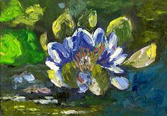 """Purple Water Lily by Marcy Brennan  Oil on 5"""" x 7"""" canvas panel - $100"""