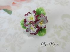 Antique/Vintage Porcelain Flower Pin, Bone China Flower Pin, Bouquet Floral Brooch by PegsVintageShop on Etsy
