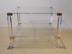 French Two-Tier Lucite and Glass Coffee Table Retro Furniture, Antique Furniture, Mid Century Furniture, Wardrobe Rack, 1970s, Tables, French, Coffee, Glass