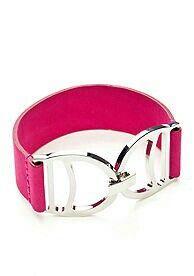 Hot pink leather bracelet RL