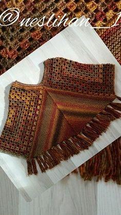 Diy Crafts - May 2016 - Easy Granny Shawl & Ruana & Treble Crochet Hat pattern - -Mainly . Crochet Poncho Patterns, Crochet Jacket, Crochet Cardigan, Crochet Scarves, Crochet Shawl, Crochet Clothes, Crochet Stitches, Knitting Patterns, Crochet Needles