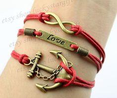 Bronze cool anchor infinite infinite & bracelet by luckystargift, $4.19