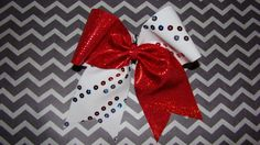 Fireworks and Red Mystic Criss Cross Cheer Bow by isparklethat, $10.00