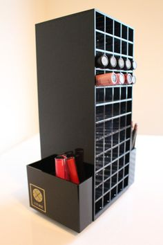 Black acrylic spinning LUX Lip Stand with 120 sections for lipsticks