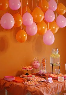 Pink and Orange Baby Shower- Really I just like the balloon arrangement