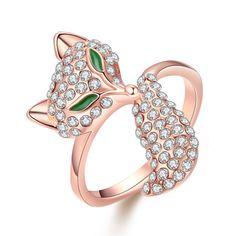 18-Karat Rose Gold Plated Bastet Ring Swarovski Elements