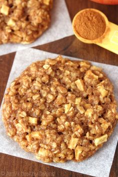 "Make healthy, low-fat, low-calorie ""apple pie"" oatmeal cookies. Amy show how in this short video. Soft and chewy with delicious cinnamon and apple."