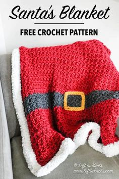 You can crochet this beautifully textured blanket quickly in time to set out with your Christmas decor. Santa's Blanket is a free crochet pattern that uses super bulky yarn for quick and easy… More Crochet Santa, Christmas Crochet Patterns, Crochet Blanket Patterns, Crochet Stitches, Crochet Baby, Knit Crochet, Crochet Christmas Blanket, Crochet Blankets, Quick Crochet Blanket