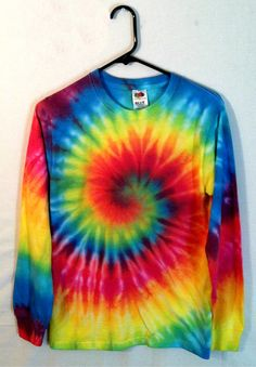 Tie Dye Shirt Long Sleeve Rainbow Spiral by RainbowEffectsTieDye