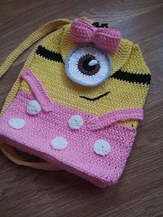 Ravelry: Minions Inspired Backpack pattern by passionatecrafter Minion Crochet Patterns, Crochet Stitches Patterns, Crochet Designs, Crochet Gifts, Crochet Toys, Crochet Baby, Crochet Backpack, Backpack Pattern, Minion Bag