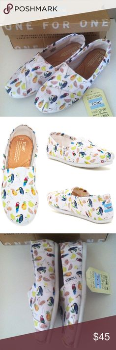 TOMS Parrot Fruit Print Slip-Ons Brand new in box! Slip-on. Goring at insert. Textile upper. TOMS Shoes Flats & Loafers