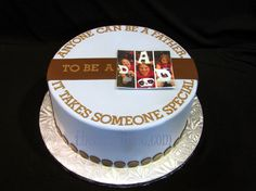 Blue and brown fondant cake for a very special Dad. By thecakeattic.com in Salisbury, NC www.facebook.com/thecakeattic