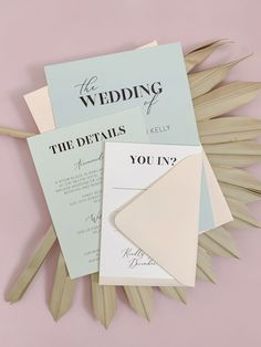 Modern Pastel Wedding Invitation Template for a boho or industrial wedding