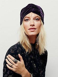 Velvet Turban | Retro inspired velvet turban featuring a knotted detailing in front.  Slightly stretchy for an easy fit.