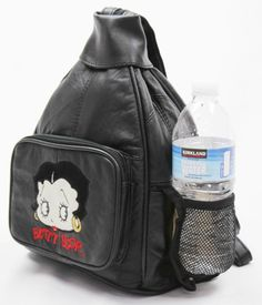 BETTY BOOP BLACK LAMBSKIN LEATHER BACKPACK BAG ORGANIZER WATER BOTTLE HOLDER