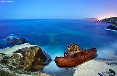 15 shipwrecks visible from land - just outside of Vila Nova de Milfontes, Odemira, Portugal